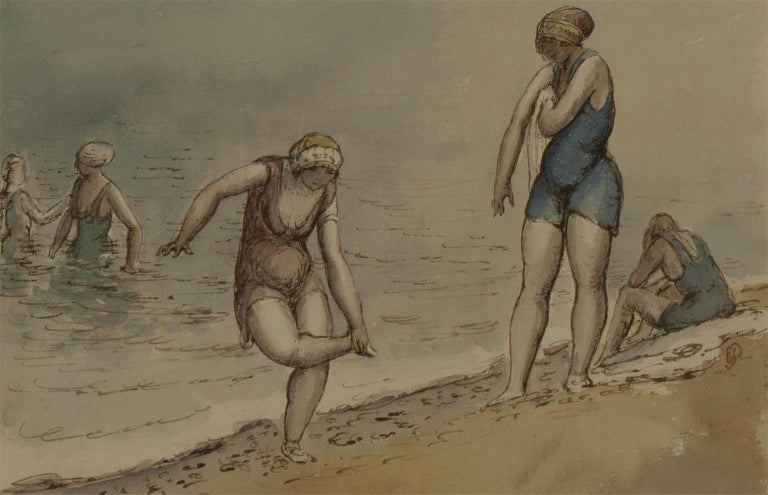 Harold Hope Read (1881-1959) - Framed & Signed Watercolour, Bathers - Impressionist Painting by Harold Hope Read
