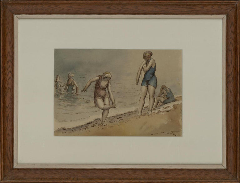 Harold Hope Read (1881-1959) - Framed & Signed Watercolour, Bathers - Painting by Harold Hope Read
