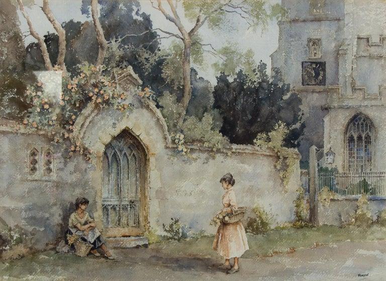 Eric Richard Sturgeon (1920-1999) - 20th Century Watercolour, Church & Figures - Realist Art by Eric Richard Sturgeon