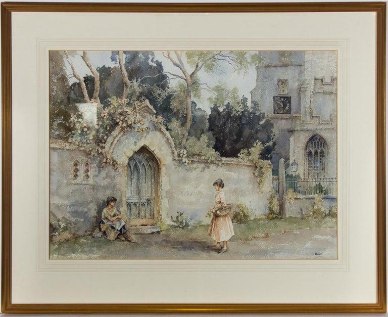Eric Richard Sturgeon (1920-1999) - 20th Century Watercolour, Church & Figures - Art by Eric Richard Sturgeon