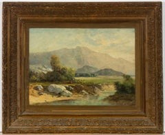 A. Ducrest - Signed & Framed Late 19th Century Oil, River Valley with Figures