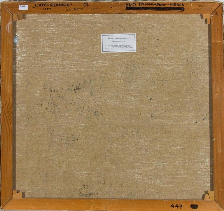 Heidy Stangenberg-Merck (1922-2014) - 1989 Oil, View of Lato, Crete For Sale 1