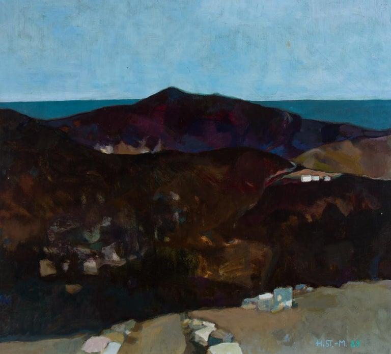 Heidy Stangenberg-Merck (1922-2014) - 1989 Oil, View of Lato, Crete - Painting by Heidy Stangenberg-Merck