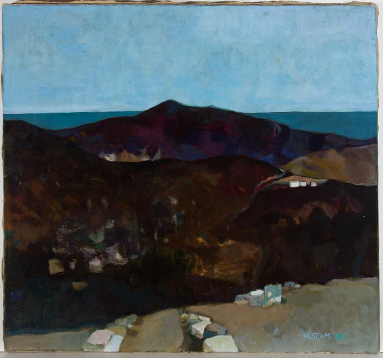 Heidy Stangenberg-Merck (1922-2014) - 1989 Oil, View of Lato, Crete - Abstract Impressionist Painting by Heidy Stangenberg-Merck