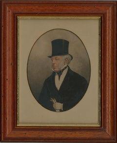 Late 19th Century Miniature Watercolour - Portrait of a Victorian Gentleman