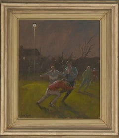 Ian Cryer PPROI (b.1959) - Signed & Framed Contemporary Oil, Rugby at Night