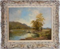 Noel Ripley (b.1944) - 20th Century Oil, River Landscape with a Figure in a Boat