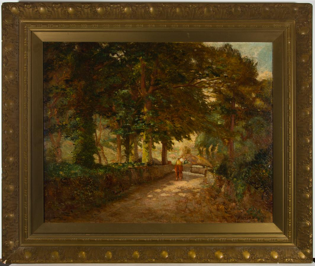 Samuel Dean (fl.1895-1938) - Early 20th Century Oil, Horse and Rider on a Lane