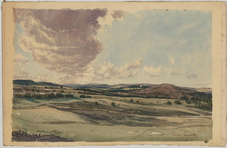 Claude Muncaster RWS, ROI, RBA, SMA (1903-1974) - Watercolour, Rolling Hills - Post-Impressionist Painting by Claude Muncaster