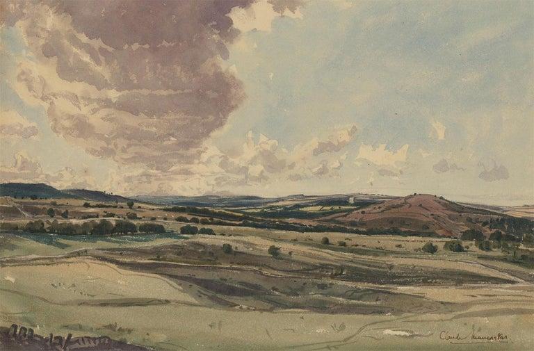 Claude Muncaster RWS, ROI, RBA, SMA (1903-1974) - Watercolour, Rolling Hills - Painting by Claude Muncaster