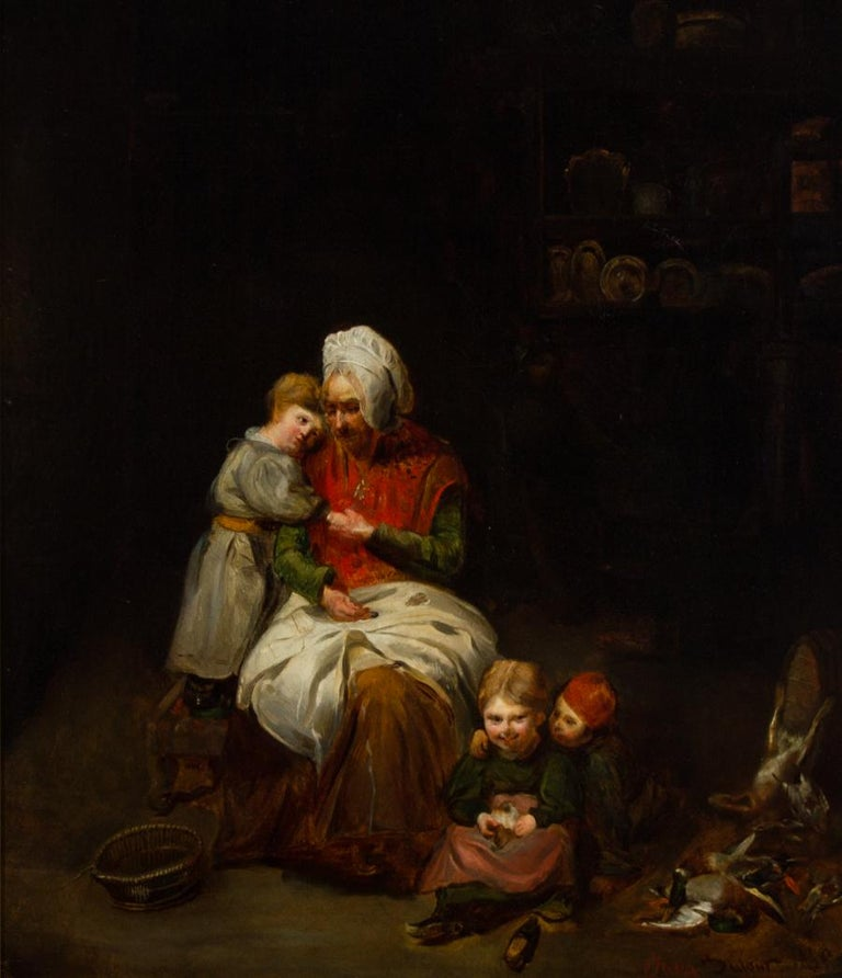 Jules Dufour (1812-1871) - 1835 Oil, French Interior with Old Lady and Children - Realist Painting by Jules Dufour