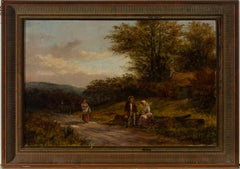 Henry Clements - Signed & Framed 1883 Oil, Rural Scene with Figures and a Car