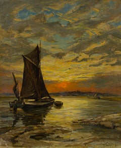 L. Colborne - Fine 1860 Oil, Sailing Boat in Sunset