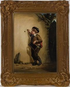 Attrib. Robinson Elliott (1814-1894) - Ornately Framed Oil, Victorian Schoolboy