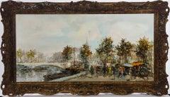 Theodorus Van Oorschot (1910-1989) - Mid 20th Century Oil, Busy Riverside Scene