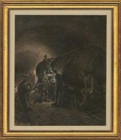 Léon Benett (1839-1917) - Very Fine Charcoal Drawing,The Railway Tanker