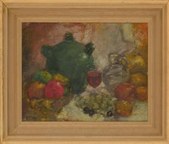 Ronald Olley (b.1923) - Fine c. 2000 Oil, Still Life, Table of Fruits & Wine