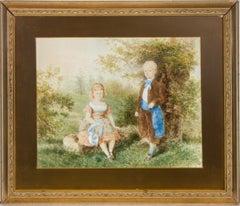Paul de Katow (1834-1897) - 1872 Watercolour, Portrait of Aristocratic Children