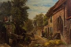 Strafford Newmarch (fl.1861-1895) - 1874 Oil, American Street Scene