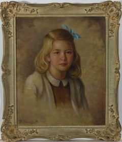 Rudolf Wenghart (1887-1965) - Framed 1947 Oil, Portrait of a Blone Girl