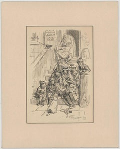 """Frederick Henry Townsend - 1914 Pen Drawing, """"I'd Give the German Emporor One.."""""""