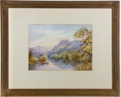 M. F. Thomas - Signed & Framed 1908 Watercolour, Fishing In The River