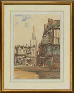 Noel Harry Leaver RCA (1889-1951) - Watercolour, Town Centre with a Spire