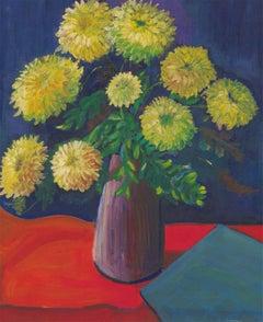 Edith Birkin (1927-2018) - Fine 20th Century Oil, Dahlias in a Vase