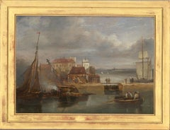 James Wilson Carmichael (1800-1868) - Signed Early 19th Century Oil, The Docks