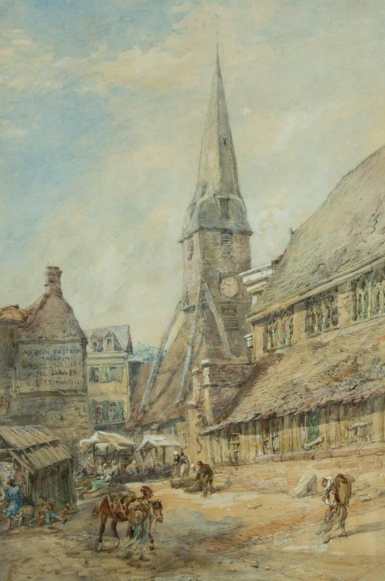 John Burgess (1814-1874) - 1855 Signed English Watercolour, Honfleur, Normandy - Gray Landscape Art by John Burgess