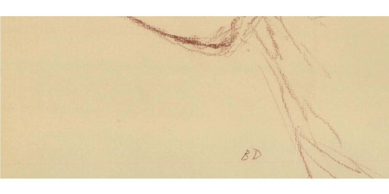 An exquisite example of post war artist Bernard Dunstan's line work. The relaxed pose of the sitter and sensitive approach to mark making is typical of Dunstan's work. This impressionistic style indicates the significance of his New English Art Club