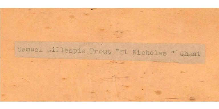 Samuel Gillespie Prout (1822-1911) - Watercolour, Saint Nicholas' Church, Ghent For Sale 2