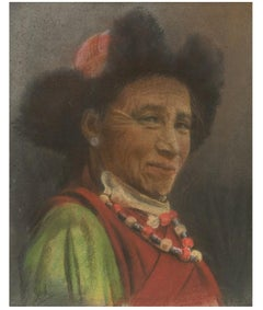 J.A. Hulbert (1900-1979) - Signed 1954 Pastel, Portrait of a Tibetan Man