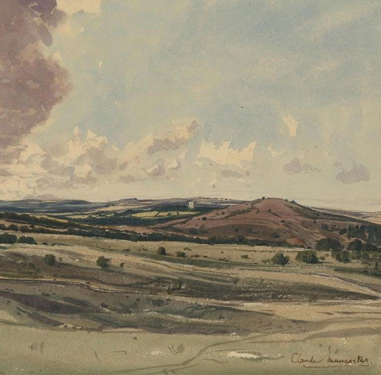 Claude Muncaster RWS, ROI, RBA, SMA (1903-1974) - Watercolour, Rolling Hills - Brown Landscape Painting by Claude Muncaster