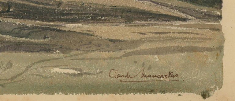A wonderful watercolour landscape by the acclaimed English artist Claude Muncaster. Painted during the artists' time at sea during the early to mid 20th century.  Muncaster was well known for his landscapes and seascapes, his aim was to be able to