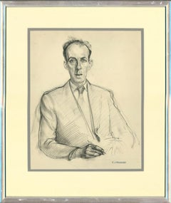 Christopher Alexander (1926-1982) - Mid 20th Century Chalk Drawing, Male Study