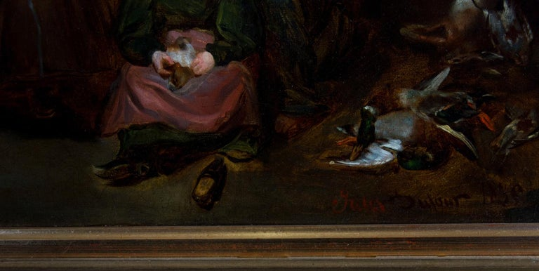 Jules Dufour (1812-1871) - 1835 Oil, French Interior with Old Lady and Children For Sale 2