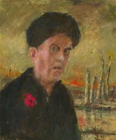 Ronald Olley (b.1923) - c. 2000 Oil, Portrait of a Veteran on a Battlefield