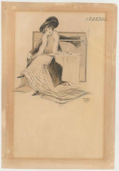 Raphael Kirchner (1875-1917) - c.1900 Pen & Ink Drawing, Seated Lady