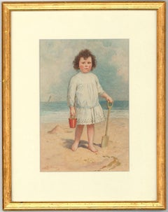 Alexander Strachan Buchanan  - Signed 1916 Watercolour, Young Girl on a Beach