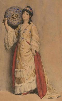 Pierre Joseph Antoine (1840-1913) - 19th Century Watercolour, Portrait of a Lady