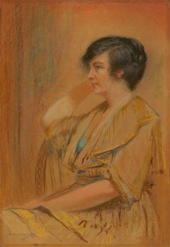 Joseph Albert Mullard (1868-c.1962) - Signed 1921 Pastel, Portrait of a Woman