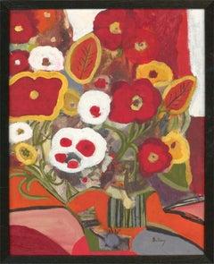 Bellamy - Framed Contemporary Oil, Red Flowers