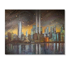 Pointillism, Impressionism, New York City Skyline, Abstract Painting Greg Matsey