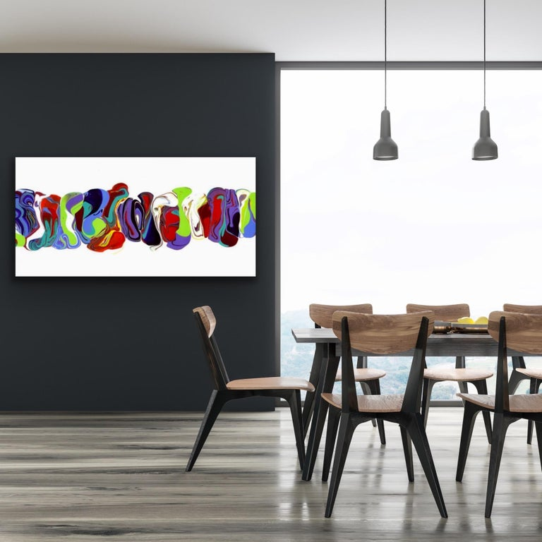 Modern Contemporary Abstract Painting Giclee Print Art on Metal by Cessy  For Sale 1