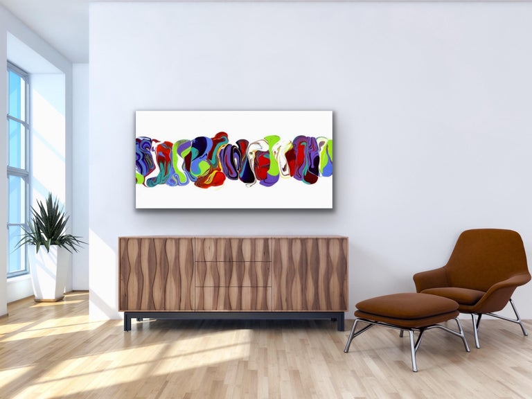 Modern Contemporary Abstract Painting Giclee Print Art on Metal by Cessy  For Sale 3