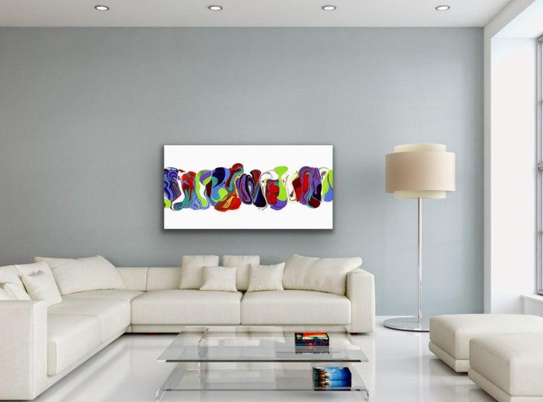 Modern Contemporary Abstract Painting Giclee Print Art on Metal by Cessy  For Sale 5