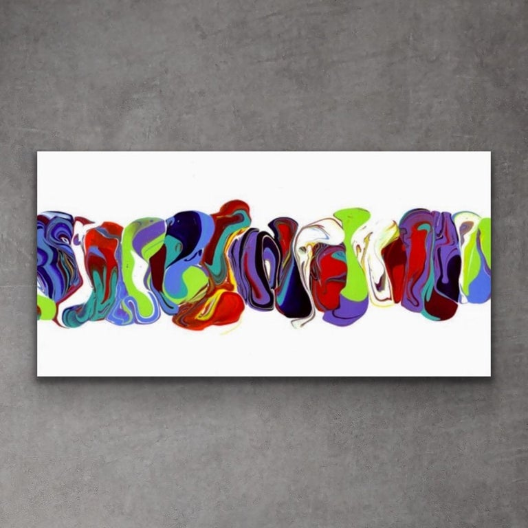 Modern Contemporary Abstract Painting Giclee Print Art on Metal by Cessy  For Sale 6