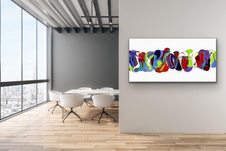 Modern Contemporary Abstract Painting Giclee Print Art on Metal by Cessy  For Sale 4