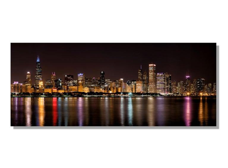 "Scott F.  Landscape Photograph - Chicago Night Skyline, Original Photography, 60"" Giclee on Metal, by Scott F."